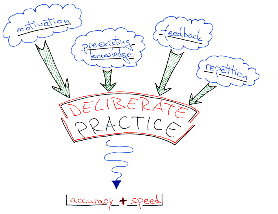 Diagram with the 4 components of deliberate practice